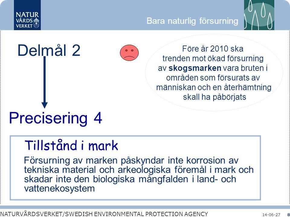 Bara naturlig försurning NATURVÅRDSVERKET/SWEDISH ENVIRONMENTAL PROTECTION AGENCY 14-06-278 Delmål 2 Före år 2010 ska trenden mot ökad försurning av s