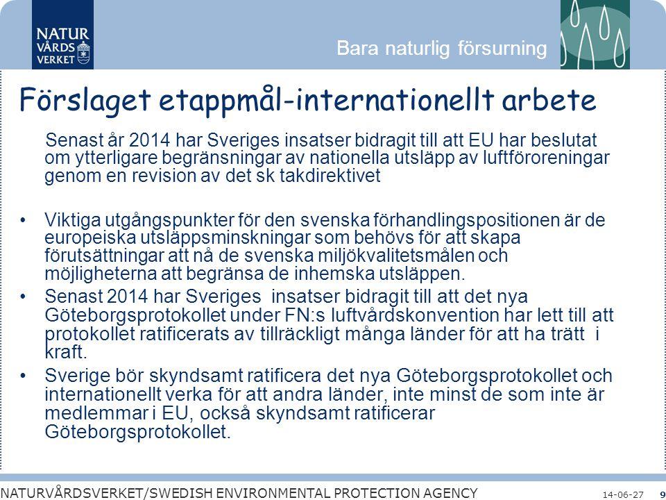 Bara naturlig försurning NATURVÅRDSVERKET/SWEDISH ENVIRONMENTAL PROTECTION AGENCY 14-06-279 Förslaget etappmål-internationellt arbete Senast år 2014 h