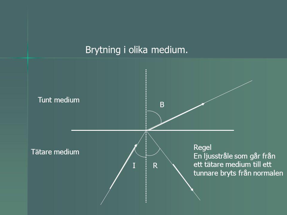 Brytning i olika medium. IR B Tunt medium Tätare medium Regel En ljusstråle som går från ett tätare medium till ett tunnare bryts från normalen
