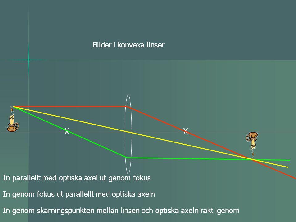 Bilder i konvexa linser XX In genom skärningspunkten mellan linsen och optiska axeln rakt igenom In parallellt med optiska axel ut genom fokus In geno