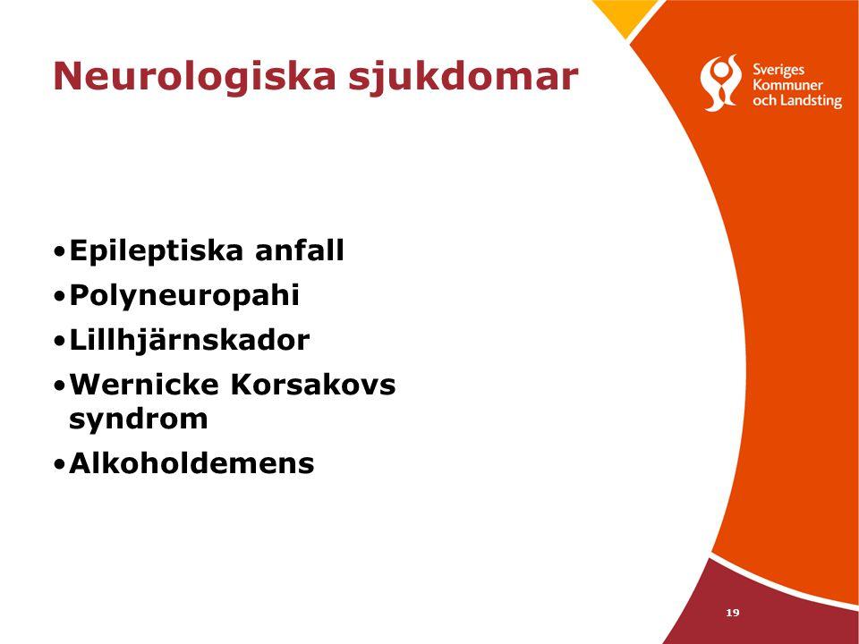 19 Neurologiska sjukdomar •Epileptiska anfall •Polyneuropahi •Lillhjärnskador •Wernicke Korsakovs syndrom •Alkoholdemens