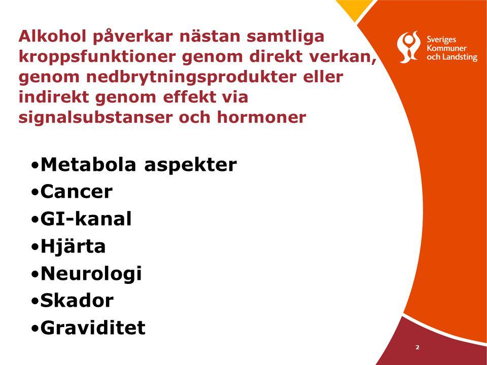 Kroppsliga komplikationer Vid alkoholintag •hjärnan och nerver: minskad retledningshastighet •salt-vätskebalans:minskad utsöndring av ADH mer urinbildning •blodcirkulationen:vidgning av kärlen •matstrupe-magsäck:syraskador •levern:nedbrytning av alkohol •pankreas:ökad utsöndring av insulin •lungorna:vidgning av bronker, minskad sekrettransport •njurar:ökad utsöndring av vatten, natrium 3