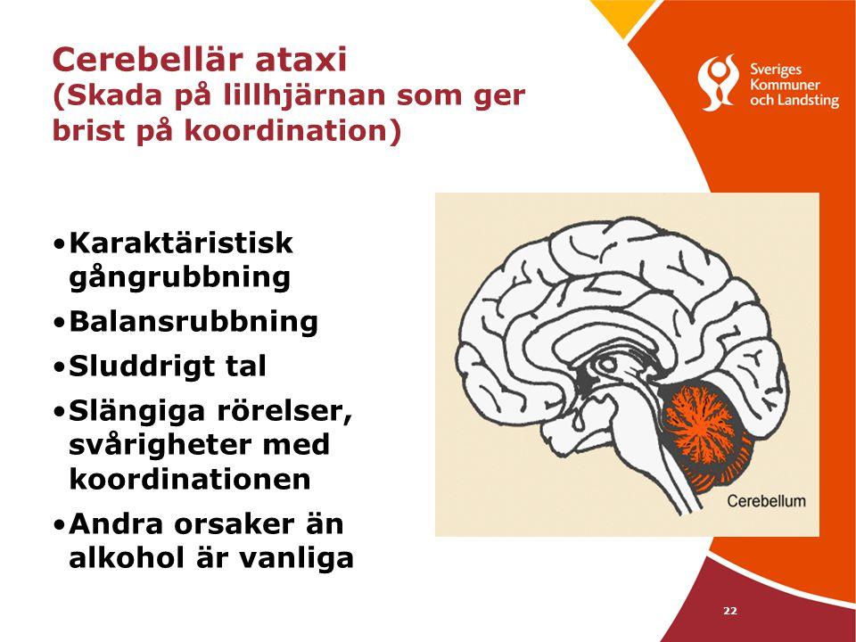 22 Cerebellär ataxi (Skada på lillhjärnan som ger brist på koordination) •Karaktäristisk gångrubbning •Balansrubbning •Sluddrigt tal •Slängiga rörelse