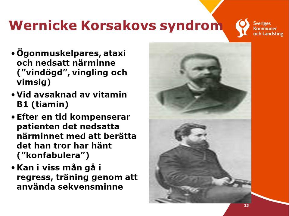 """23 Wernicke Korsakovs syndrom •Ögonmuskelpares, ataxi och nedsatt närminne (""""vindögd"""", vingling och vimsig) •Vid avsaknad av vitamin B1 (tiamin) •Efte"""