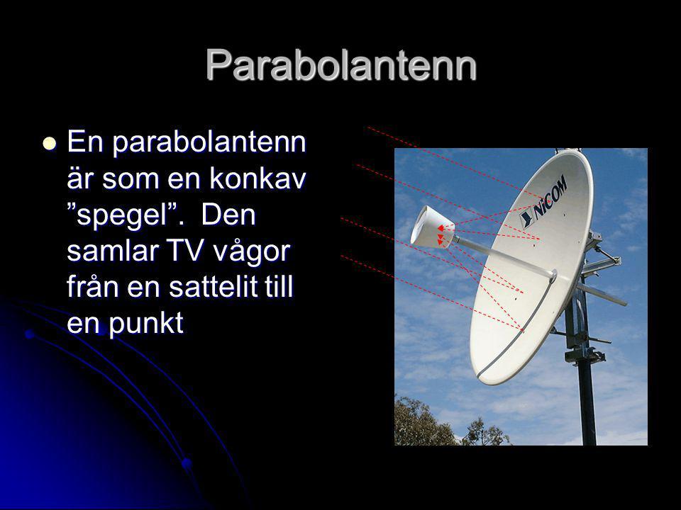 """Parabolantenn  En parabolantenn är som en konkav """"spegel"""". Den samlar TV vågor från en sattelit till en punkt"""
