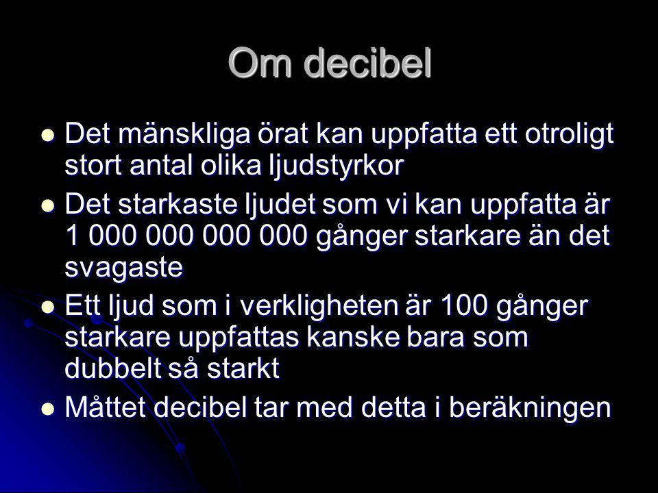 Om decibel  Det mänskliga örat kan uppfatta ett otroligt stort antal olika ljudstyrkor  Det starkaste ljudet som vi kan uppfatta är 1 000 000 000 00