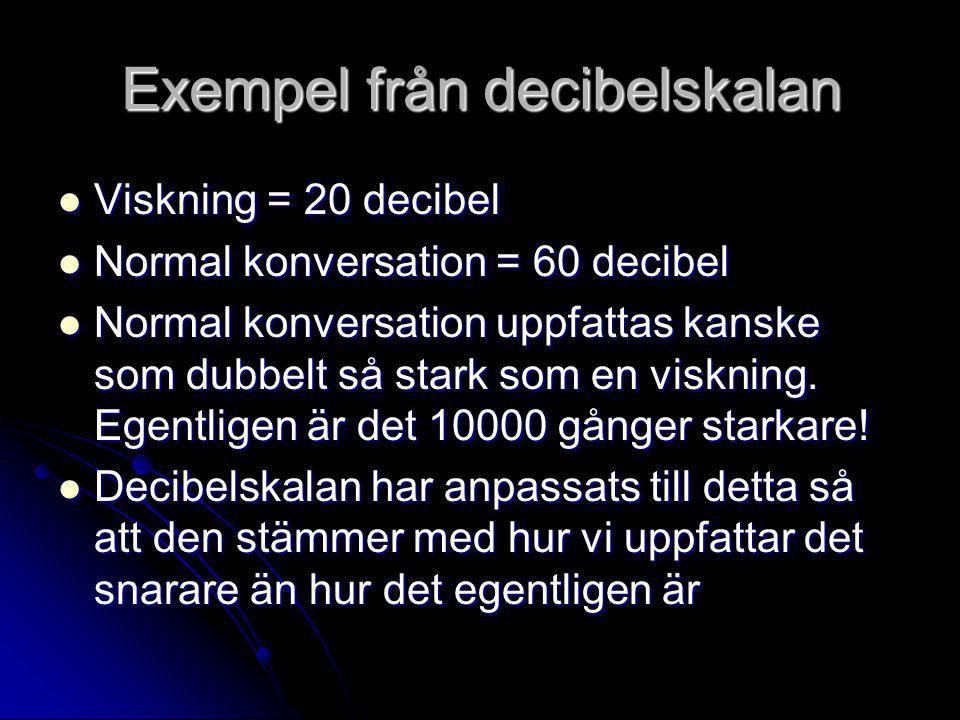 Exempel från decibelskalan  Viskning = 20 decibel  Normal konversation = 60 decibel  Normal konversation uppfattas kanske som dubbelt så stark som