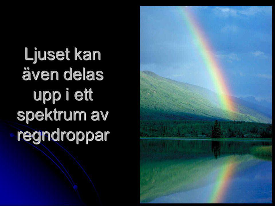 Ljuset kan även delas upp i ett spektrum av regndroppar