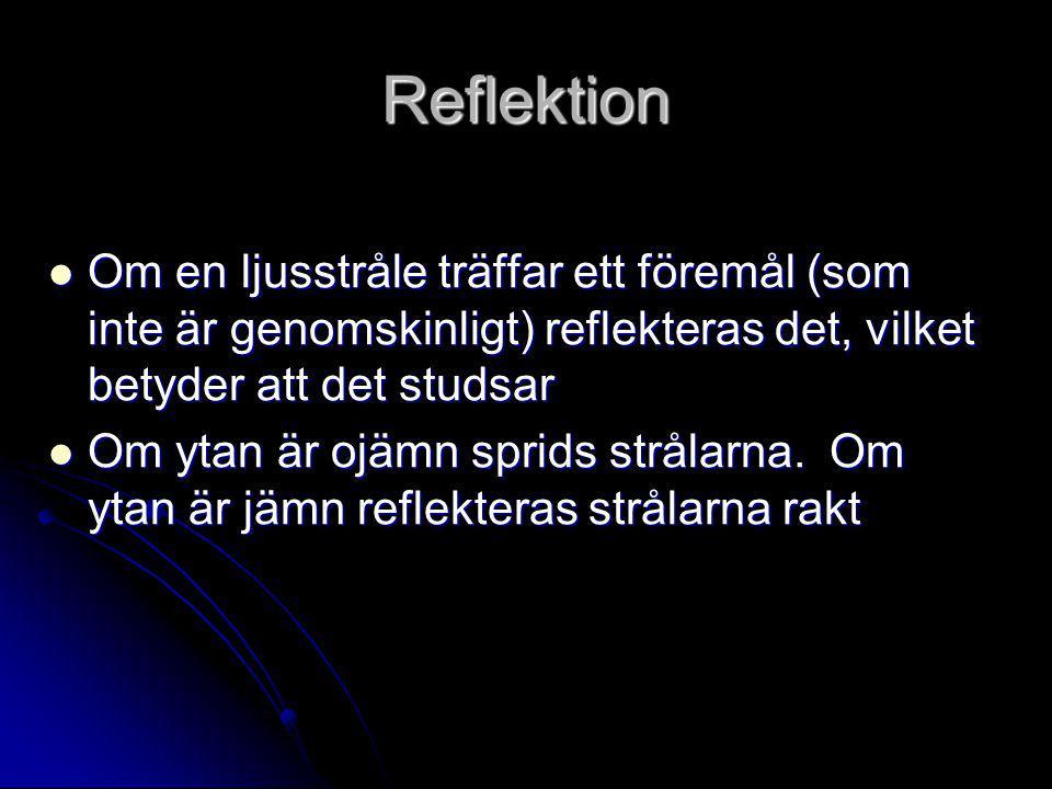 Reflektion  Om en ljusstråle träffar ett föremål (som inte är genomskinligt) reflekteras det, vilket betyder att det studsar  Om ytan är ojämn sprids strålarna.