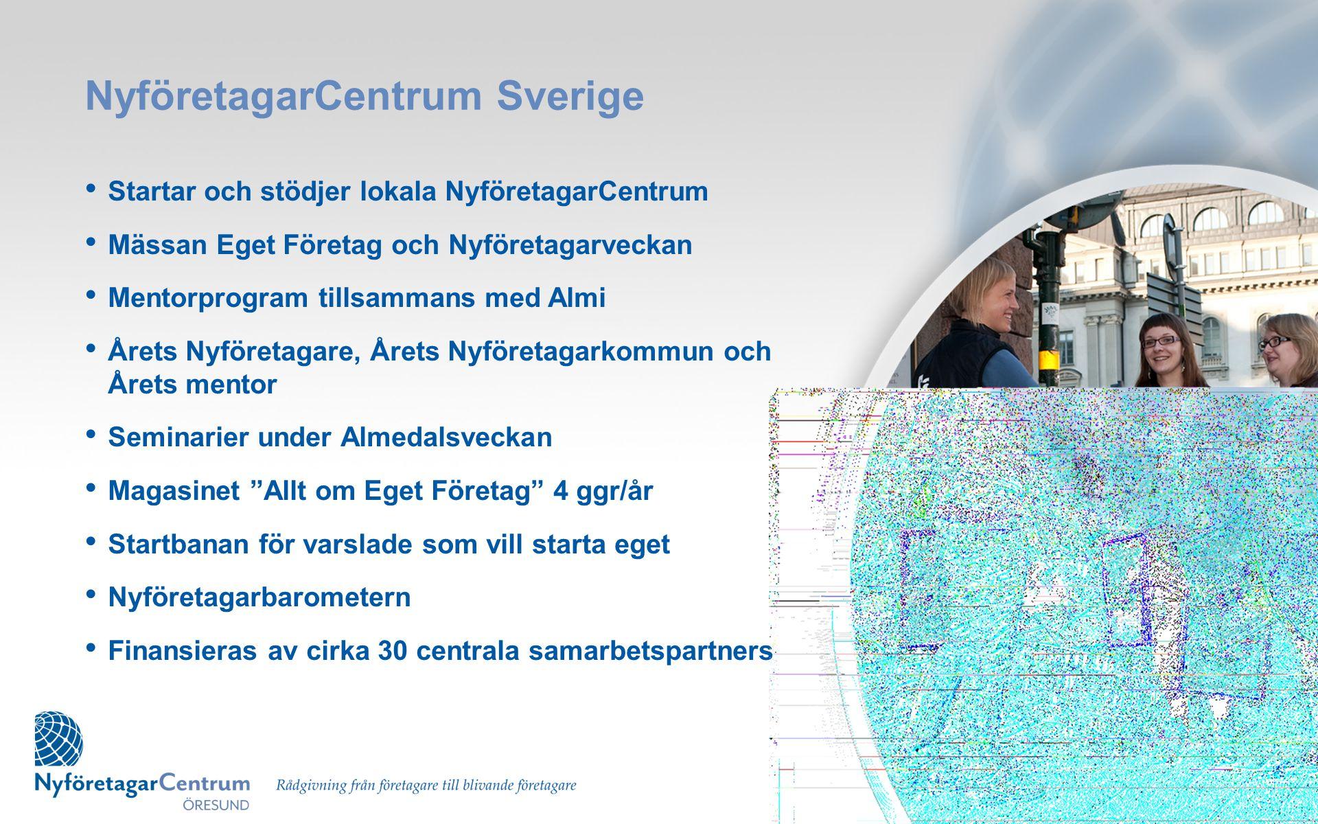 Verksamheten i Öresund • Certifierat NyföretagarCentrum med diplomerade rådgivare • Omfattar kommunerna Malmö (HK), Burlöv, Hörby, Kävlinge, Lomma, Sjöbo, Skurup, Staffanstorp, Svedala, Trelleborg och Vellinge • Ideellt arbetande styrelse, mentorer och nätverk • Finansierat i huvudsak av lokalt näringsliv • Invigdes den 16 maj 2011 • Nio rådgivare som alla själva är företagare