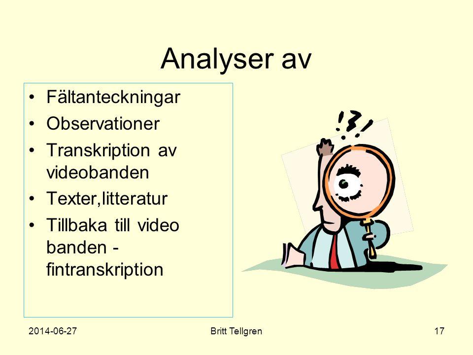 Analyser av •Fältanteckningar •Observationer •Transkription av videobanden •Texter,litteratur •Tillbaka till video banden - fintranskription 2014-06-2