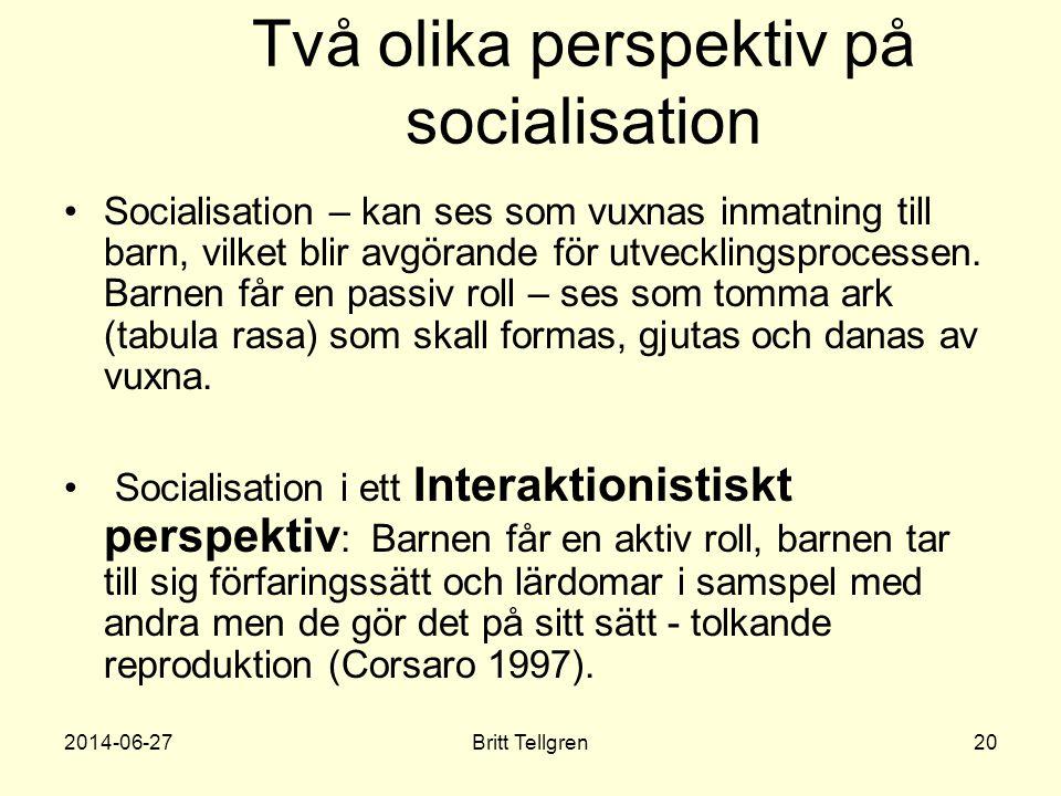 Två olika perspektiv på socialisation •Socialisation – kan ses som vuxnas inmatning till barn, vilket blir avgörande för utvecklingsprocessen. Barnen