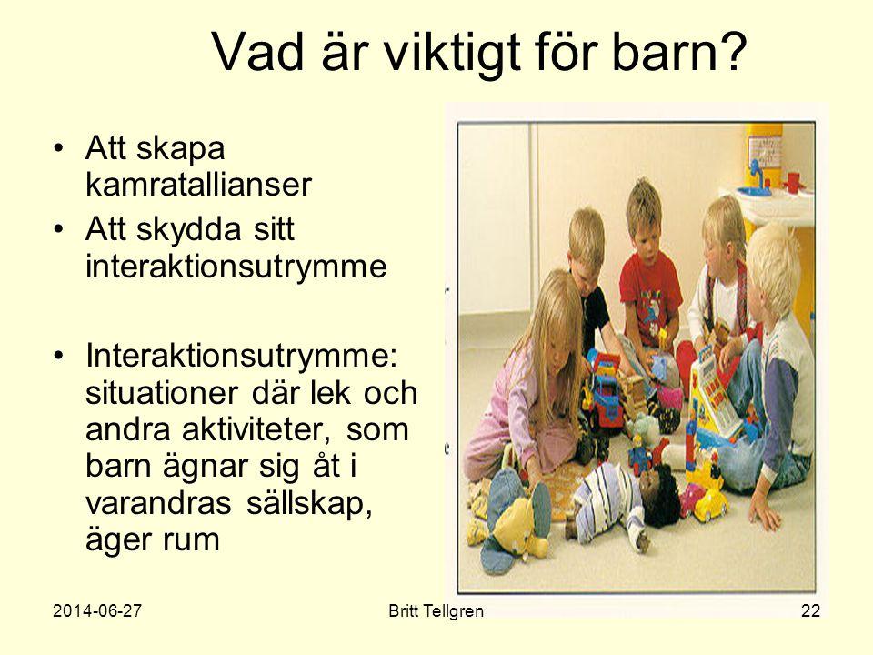 Vad är viktigt för barn? •Att skapa kamratallianser •Att skydda sitt interaktionsutrymme •Interaktionsutrymme: situationer där lek och andra aktivitet