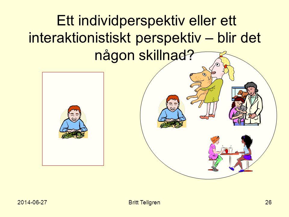Ett individperspektiv eller ett interaktionistiskt perspektiv – blir det någon skillnad? 2014-06-2726Britt Tellgren