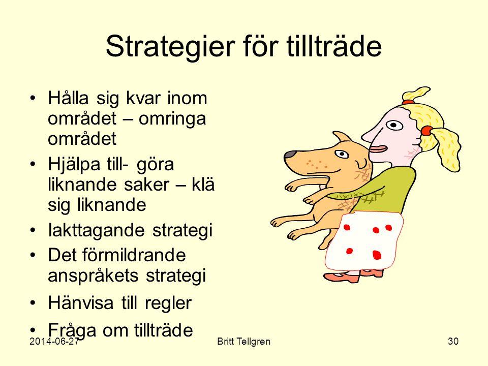 Strategier för tillträde •Hålla sig kvar inom området – omringa området •Hjälpa till- göra liknande saker – klä sig liknande •Iakttagande strategi •De