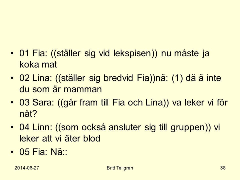 •01 Fia: ((ställer sig vid lekspisen)) nu måste ja koka mat •02 Lina: ((ställer sig bredvid Fia))nä: (1) dä ä inte du som är mamman •03 Sara: ((går fr