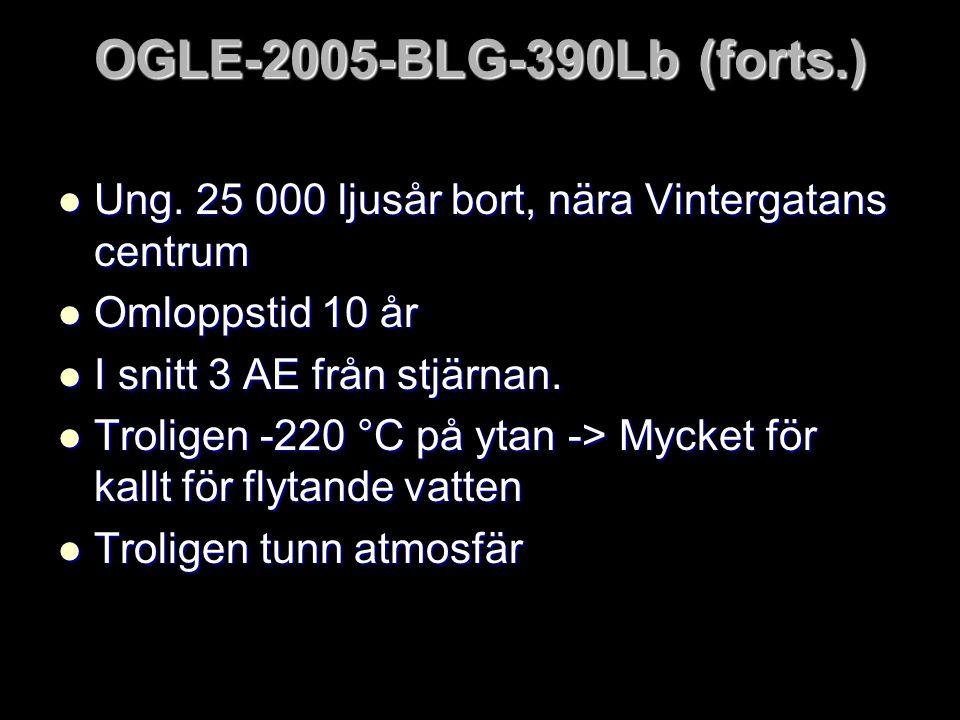 OGLE-2005-BLG-390Lb (forts.)  Ung. 25 000 ljusår bort, nära Vintergatans centrum  Omloppstid 10 år  I snitt 3 AE från stjärnan.  Troligen -220 °C