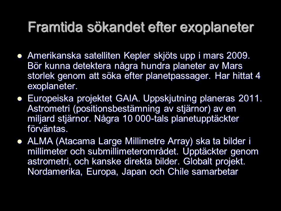 Framtida sökandet efter exoplaneter  Amerikanska satelliten Kepler skjöts upp i mars 2009. Bör kunna detektera några hundra planeter av Mars storlek