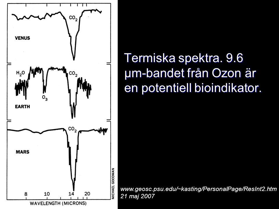 Termiska spektra. 9.6 μm-bandet från Ozon är en potentiell bioindikator. Termiska spektra. 9.6 μm-bandet från Ozon är en potentiell bioindikator. www.
