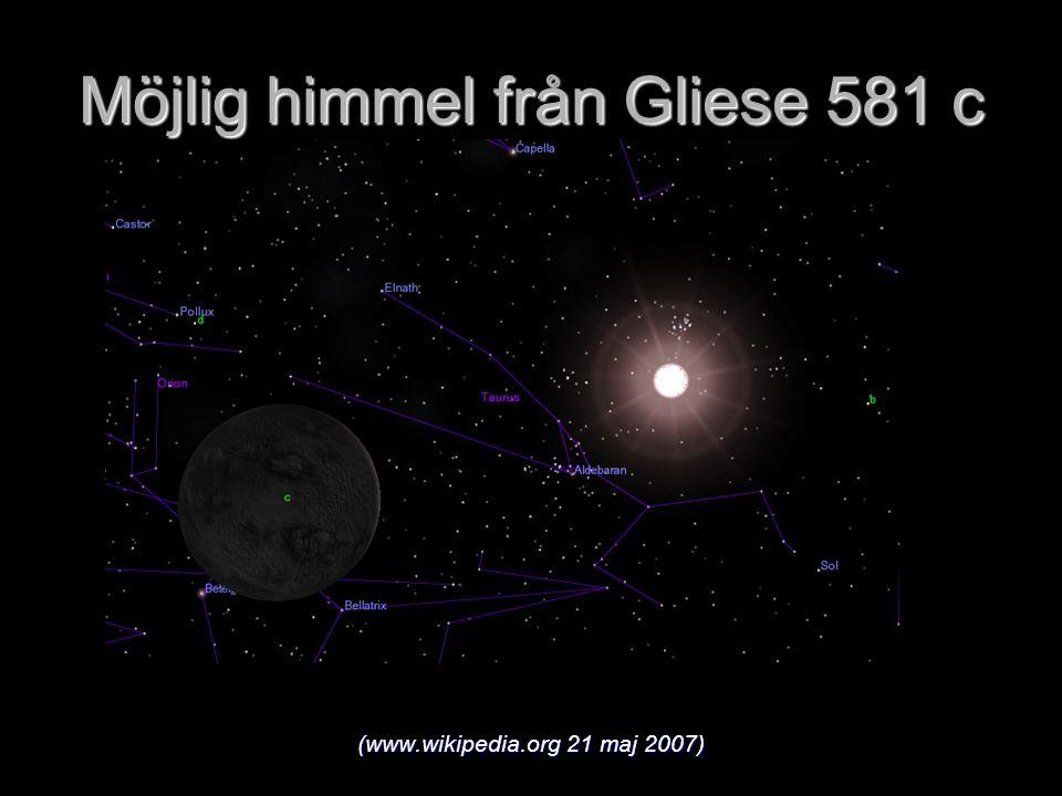 Möjlig himmel från Gliese 581 c (www.wikipedia.org 21 maj 2007)
