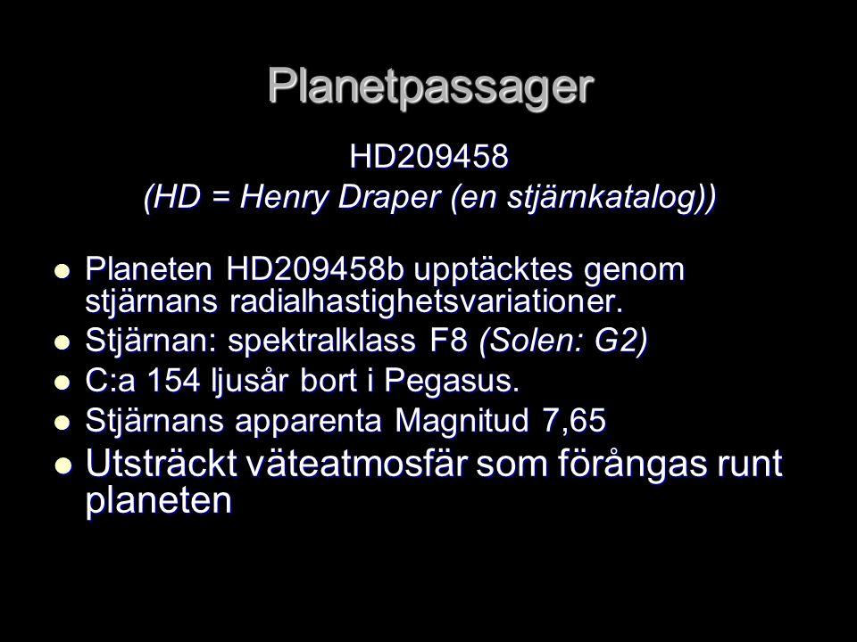 Planetpassager HD209458 (HD = Henry Draper (en stjärnkatalog))  Planeten HD209458b upptäcktes genom stjärnans radialhastighetsvariationer.  Stjärnan