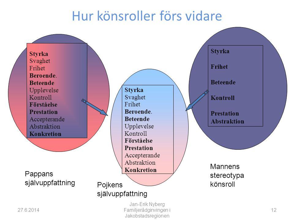 Hur könsroller förs vidare 27.6.2014 Jan-Erik Nyberg Familjerådginvingen i Jakobstadsregionen 12 Styrka Svaghet Frihet Beroende.