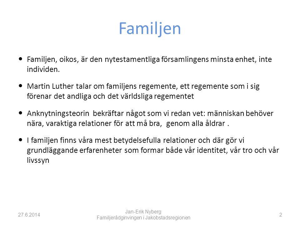 Familjen  Familjen, oikos, är den nytestamentliga församlingens minsta enhet, inte individen.