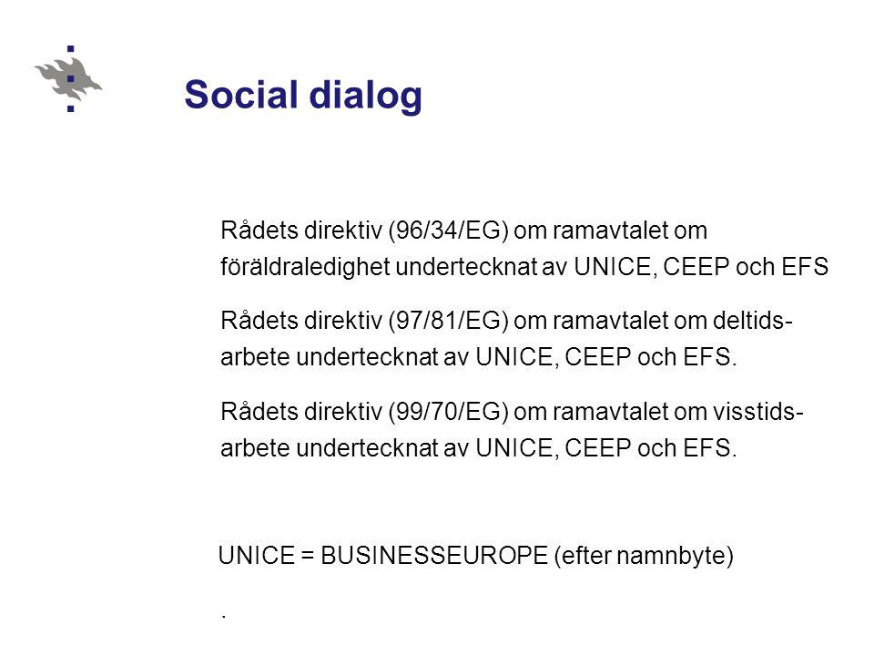 Social dialog Rådets direktiv (96/34/EG) om ramavtalet om föräldraledighet undertecknat av UNICE, CEEP och EFS Rådets direktiv (97/81/EG) om ramavtale