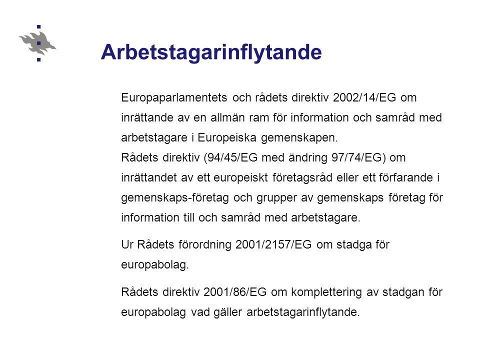 Arbetstagarinflytande Europaparlamentets och rådets direktiv 2002/14/EG om inrättande av en allmän ram för information och samråd med arbetstagare i E