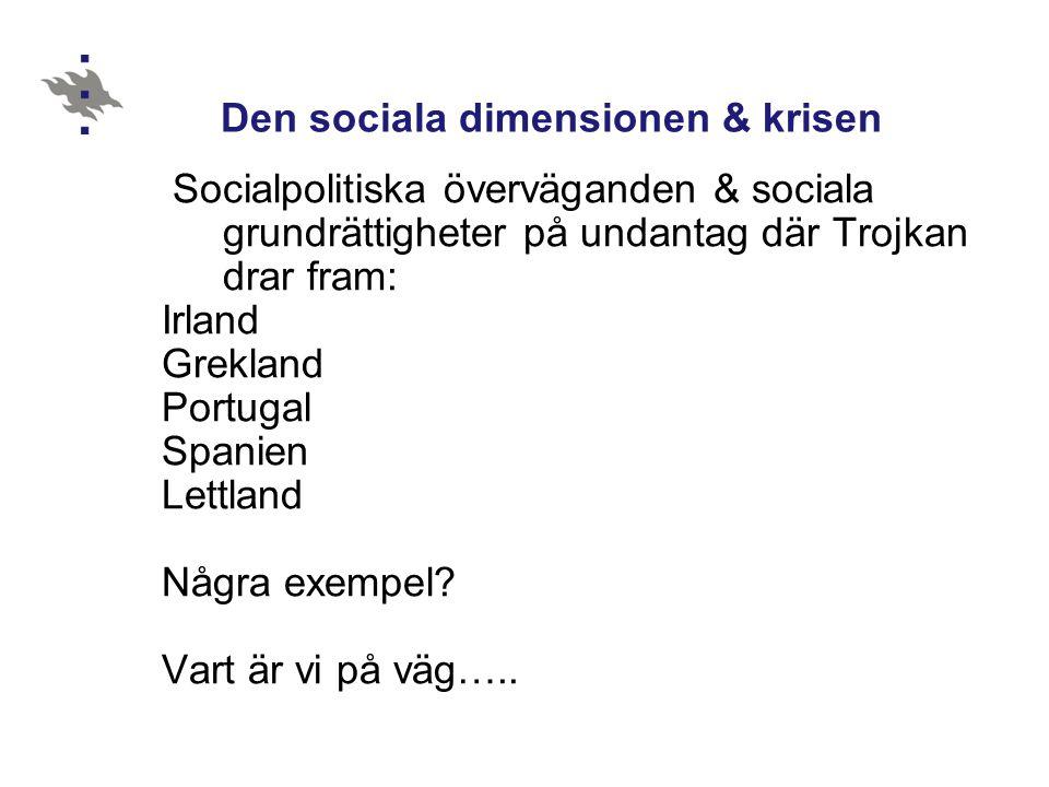 Den sociala dimensionen & krisen Socialpolitiska överväganden & sociala grundrättigheter på undantag där Trojkan drar fram: Irland Grekland Portugal S