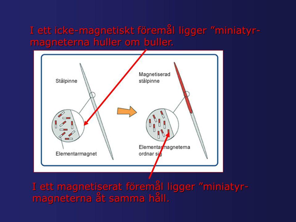 """I ett icke-magnetiskt föremål ligger """"miniatyr- magneterna huller om buller. I ett magnetiserat föremål ligger """"miniatyr- magneterna åt samma håll."""