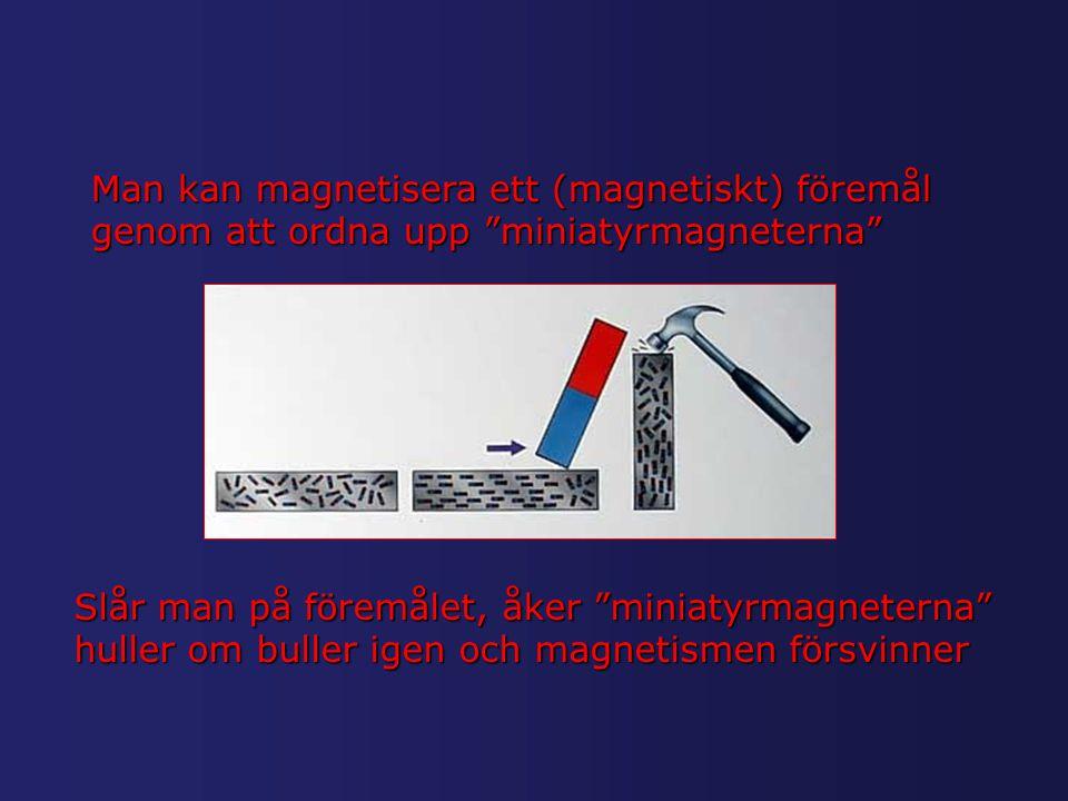 """Man kan magnetisera ett (magnetiskt) föremål genom att ordna upp """"miniatyrmagneterna"""" Slår man på föremålet, åker """"miniatyrmagneterna"""" huller om bulle"""