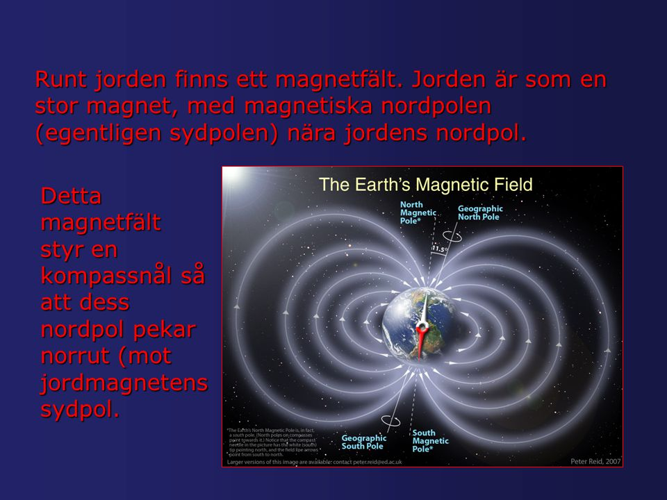 Runt jorden finns ett magnetfält. Jorden är som en stor magnet, med magnetiska nordpolen (egentligen sydpolen) nära jordens nordpol. Detta magnetfält