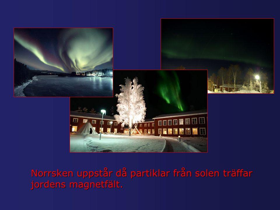 Norrsken uppstår då partiklar från solen träffar jordens magnetfält.
