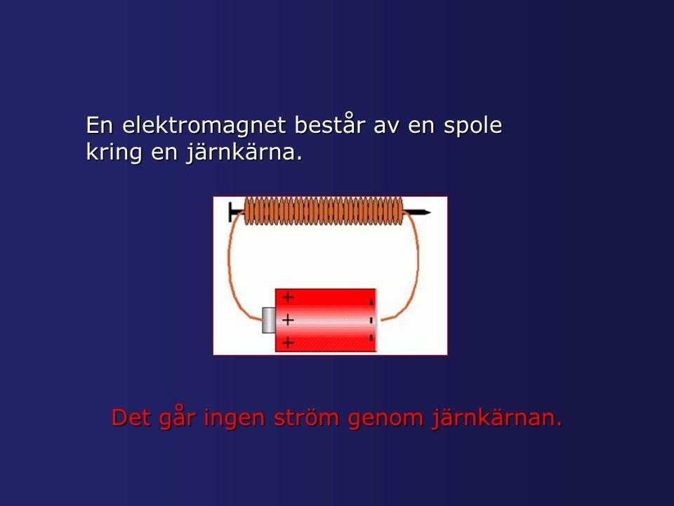 En elektromagnet består av en spole kring en järnkärna. Det går ingen ström genom järnkärnan.