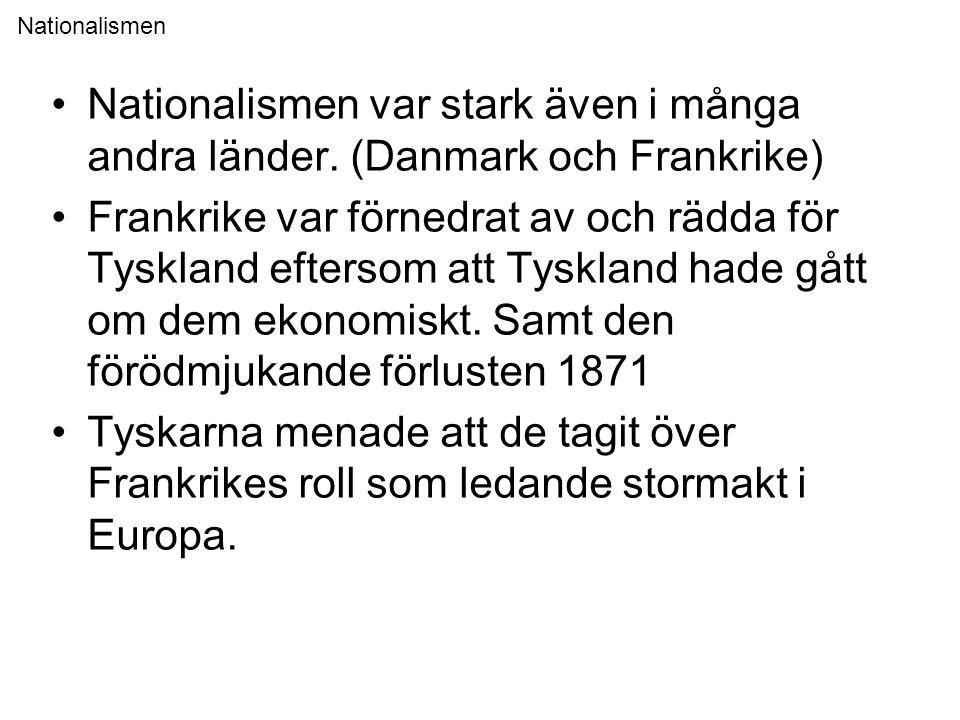 Nationalismen •Nationalismen var stark även i många andra länder. (Danmark och Frankrike) •Frankrike var förnedrat av och rädda för Tyskland eftersom