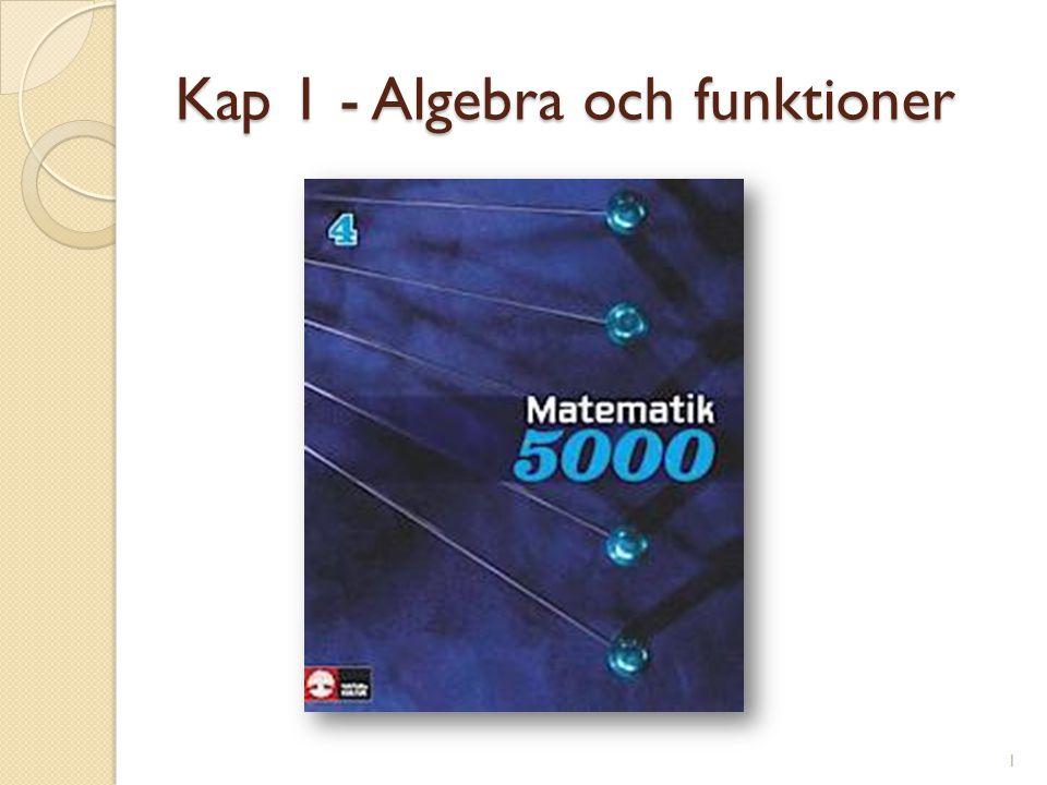 Kap 1 - Algebra och funktioner 1