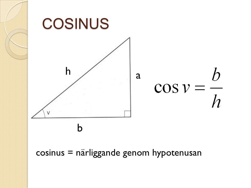 COSINUS a b h cosinus = närliggande genom hypotenusan