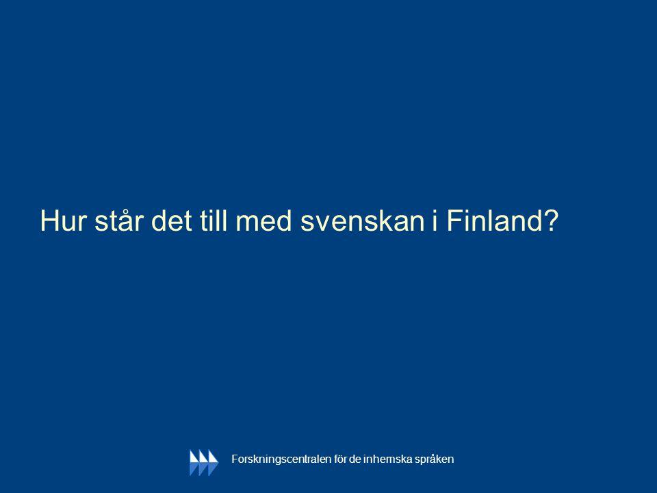 Hur står det till med svenskan i Finland? Forskningscentralen för de inhemska språken
