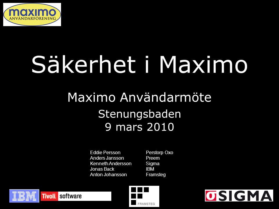 Säkerhet i Maximo Maximo Användarmöte Stenungsbaden 9 mars 2010 Eddie PerssonPerstorp Oxo Anders JanssonPreem Kenneth AnderssonSigma Jonas BackIBM Ant