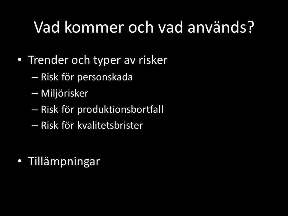 Vad kommer och vad används? • Trender och typer av risker – Risk för personskada – Miljörisker – Risk för produktionsbortfall – Risk för kvalitetsbris