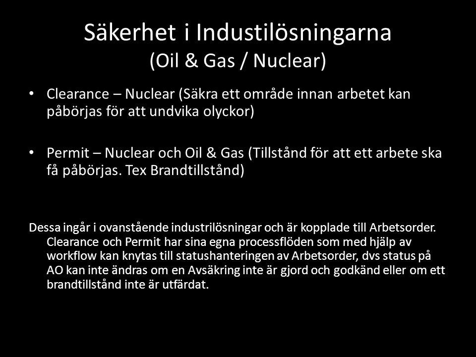 Säkerhet i Industilösningarna (Oil & Gas / Nuclear) • Clearance – Nuclear (Säkra ett område innan arbetet kan påbörjas för att undvika olyckor) • Perm
