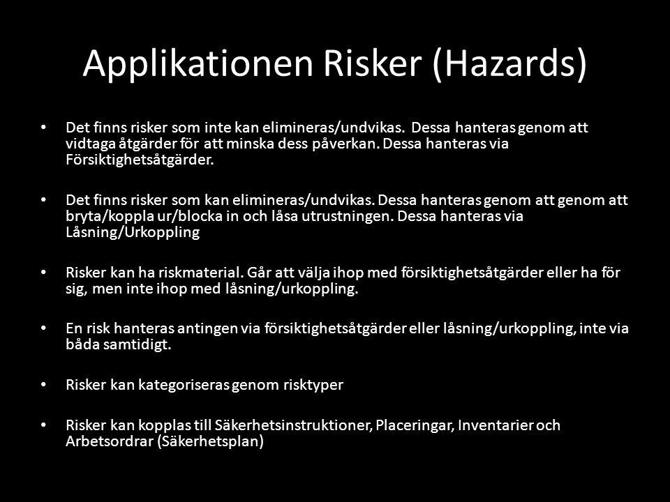 Applikationen Risker (Hazards) • Det finns risker som inte kan elimineras/undvikas. Dessa hanteras genom att vidtaga åtgärder för att minska dess påve