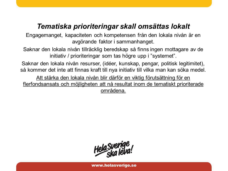 www.helasverige.se Tematiska prioriteringar skall omsättas lokalt Engagemanget, kapaciteten och kompetensen från den lokala nivån är en avgörande faktor i sammanhanget.