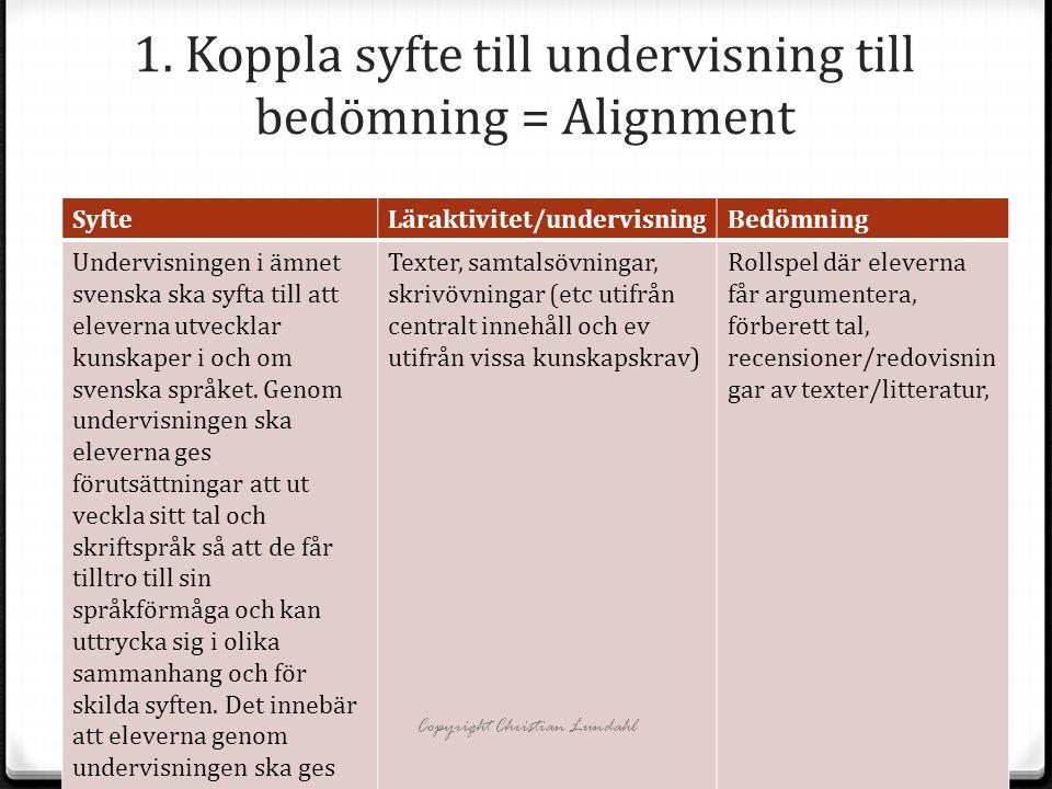 1. Koppla syfte till undervisning till bedömning = Alignment SyfteLäraktivitet/undervisningBedömning Undervisningen i ämnet svenska ska syfta till att