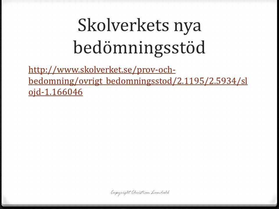 Skolverkets nya bedömningsstöd http://www.skolverket.se/prov-och- bedomning/ovrigt_bedomningsstod/2.1195/2.5934/sl ojd-1.166046 Copyright Christian Lu