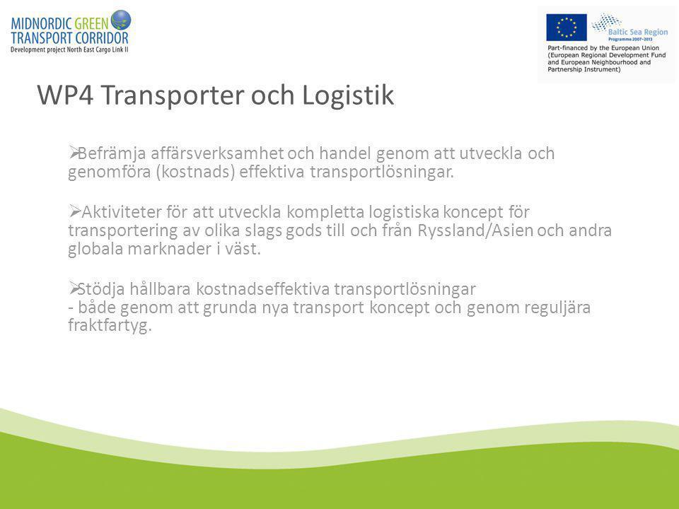 WP4 Transporter och Logistik  Befrämja affärsverksamhet och handel genom att utveckla och genomföra (kostnads) effektiva transportlösningar.