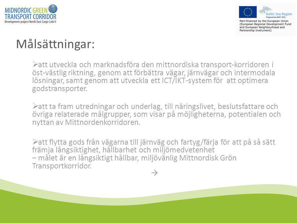 Målsättningar:  att utveckla och marknadsföra den mittnordiska transport-korridoren i öst-västlig riktning, genom att förbättra vägar, järnvägar och intermodala lösningar, samt genom att utveckla ett ICT/IKT-system för att optimera godstransporter.