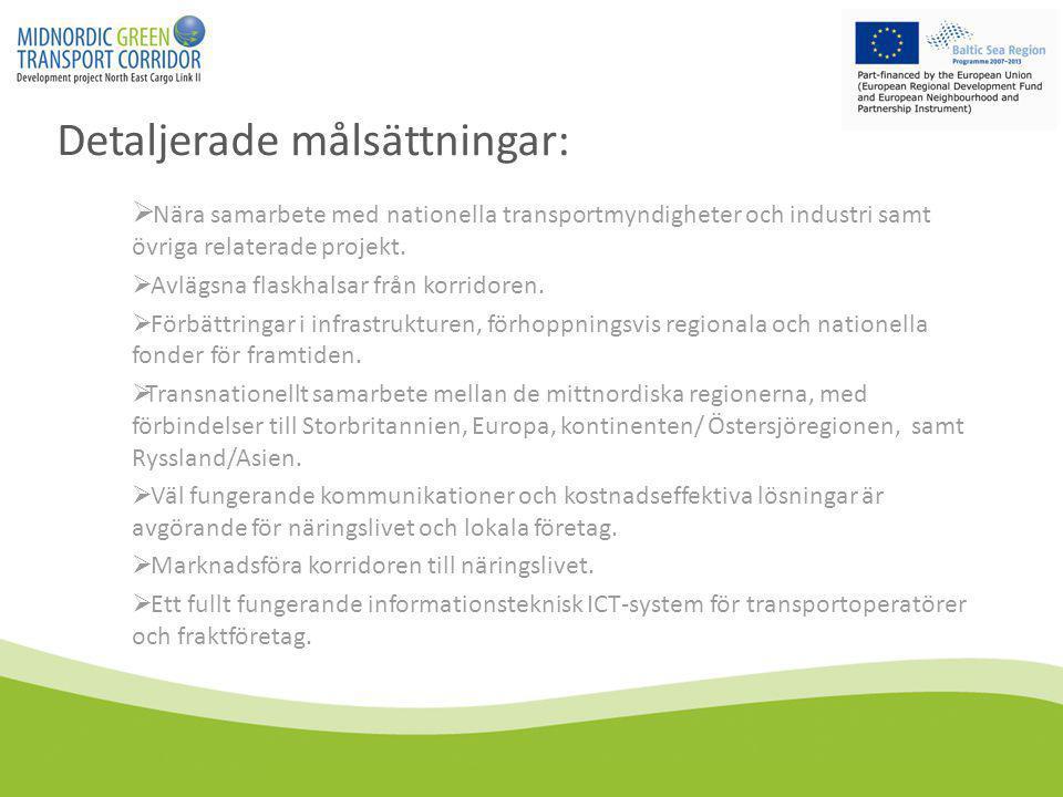 Detaljerade målsättningar:  Nära samarbete med nationella transportmyndigheter och industri samt övriga relaterade projekt.