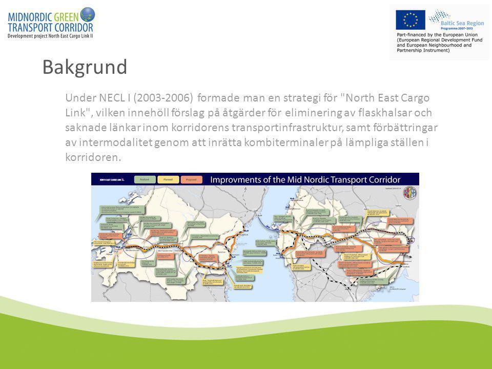 Bakgrund Under NECL I (2003-2006) formade man en strategi för North East Cargo Link , vilken innehöll förslag på åtgärder för eliminering av flaskhalsar och saknade länkar inom korridorens transportinfrastruktur, samt förbättringar av intermodalitet genom att inrätta kombiterminaler på lämpliga ställen i korridoren.